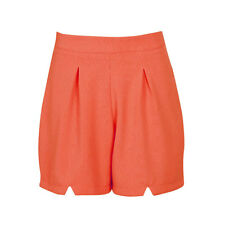 New Ladies Womens Girls High Waisted Back Zip Smart Textured Waffle Woven Shorts
