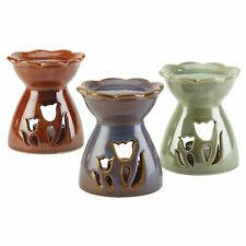 Set of 3 Artistic Tulip Flower Blooms Glossy Porcelain Home Fragrance Oil Warmer