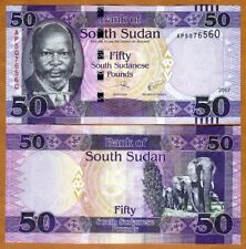 South Sudan, 50 Pounds, 2017, P-9c, UNC > Elephants