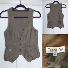 Topshop Linen Blend Waistcoat Size 12 Summer Festival
