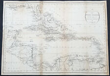 1794 John Russell Large Antique Map of West Indies, Florida, Central America