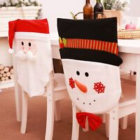 Christmas Chair Cover case Santa Claus Snowman Back Xmas Table Dinner Decoration
