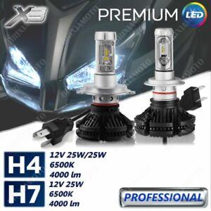 KIT 2 LAMPADE LED X3 12V H4 +1 H7 8000 LUMEN PER T-MAX 500 '01 / '07
