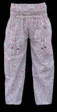 INDIAN BAGGY GYPSY HAREM PANTS YOGA MEN WOMEN WHITE PINK AFRICAN TROUSER DFDE