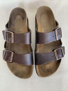 Birkenstock Brown Leather Arizona Soft Footbed Sandals Size 40