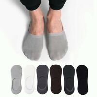 5 Pairs Mens 90%Model Invisible No Show Loafer Boat Nonslip Solid Seamless Socks