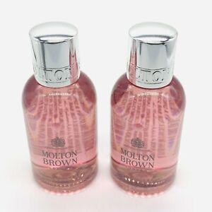 2 x Molton Brown Rhubarb & Rose Bath & Shower Gel 100ml - New - Free P&P