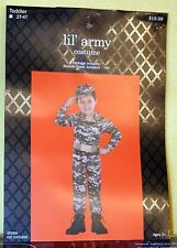 Adorable Toddler Boy or Girl Lil' Army Costume Jumpsuit & Army Hat Sz 2T-4T NEW
