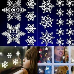 57 Large&Small Christmas Snowflake Window Stickers Silver Shiny Wall Glass Cling