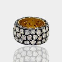 Natural Rose Cut Diamond Polki 18k Gold 925 Sterling Silver Fine Band Ring