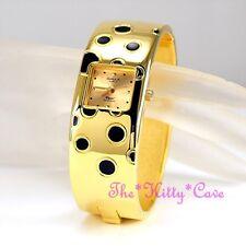 Retro Polka OMAX Gold Pltd Seiko Movt Waterproof Bangle Cuff Swiss Watch BAE016