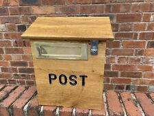 brass letter slot Wooden Solid Oak Wall Mounted , Mail Post Box Parcel Delivery