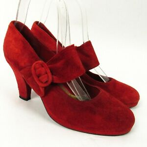 Rush Hour Red Suede Heels Size 7 Bow Strap Mary Jane Leather 40s Pinup Style