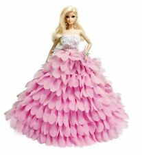 New Barbie clothes outfit princess wedding dress gown fishtail hot pink