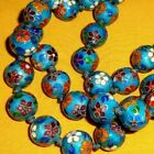 RARE ANTIQUE CHINESE ENAMEL CLOISONNE ON SILVER NECKLACE  OPERA LENGTH