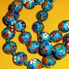 RARE ANTIQUE CHINESE ENAMEL CLOISONNE ON SILVER NECKLACE -OPERA LENGTH