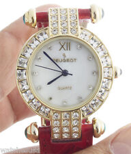 Peugeot Women's 3140G Crystal Accented Case MOP Dial 2 Leather Strap Watch