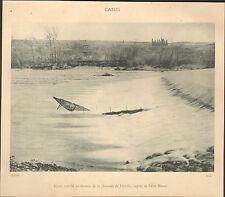 11 SAINT-MARCEL PECHE AVEC CANIS AUDE CHAUSSEE DE FERIOLES IMAGE 1900 OLD PRINT