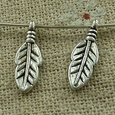 free ship 420 pieces tibetan silver leaves charms 16x6mm #3439