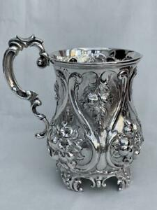 Superb Solid Silver Victorian Christening Mug By Martin Hall & Co Date 1865.
