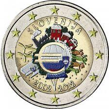 Slowenien 2 Euro 2012 stgl. 10 Jahre Euro- Bargeld in Farbe