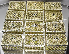 12 PC GOLD SQUARE PLASTIC TRINKET BOX WEDDING FAVORS ARRAS CHEST FILLABLE DECOR