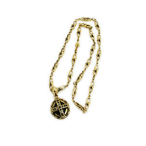 CROSS OVAL BLACK CUBIC ZIRCONIA SOLID BRASS BIKER GOTHIC NECKLACE PENDANT nd-003