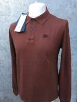 C.P. Company Long Sleeve Cotton Polo Shirt Brand New With Tags Maroon Red