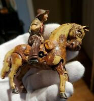 """Antique German Tin Wind Up Cowboy Riding Horse DRP US ZONE 1940's 4"""" TOY GERMANY"""