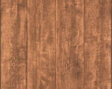 Brown Wooden Panel Wallpaper Wood Grain Realistic Effect Distressed Non-Woven