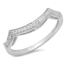 14K White Gold Round Diamond Stackable Wedding Contour Band Guard Ring Size 7.5