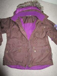 Girls Crane brown ski  Jacket with faux fur trim   Size 10