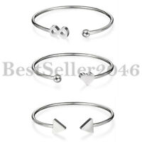 Womens Polished Stainless Steel Charm Infinity Heart Triangle Open Cuff Bracelet