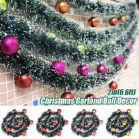 2M Christmas Leaf Rattan Garland Artificial Green Pine Tree String  Xmas Ball AU