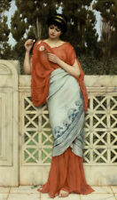 Oil painting john william godward - he loves me, he loves me not girl & flowers