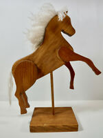 HAND MADE WOOD FOLK ART PRIMITIVE, RUNNING HORSE ON STAND DISPLAY, EXCELLENT!