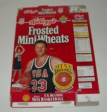 1992 KELLOGG's FROSTED MINI WHEATS CEREAL BOX FLAT LARRY BIRD OLYMPIC BASKETBALL