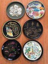 New Listing6 Plates - State Map Souvenir Tin Tray, De, Hi, Fl Disney, Fl, Md, Dc