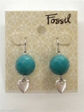 Fossil Ball Heart Drop Earrings Silvertone Teal Blue Stone Logo Hearts New! NWT