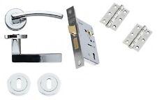 Toledo Polished Chrome Door Handle Pack (Internal 3 lever Lockset) - Hinges