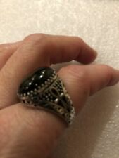 Vintage 925 Sterling Silver Real Black Onyx Egyptian Ankh Size 8 Ring