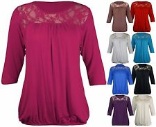 New Womens Floral Lace 3/4 Short Sleeve Ladies Ruched T-Shirt Trim Top Plus Size