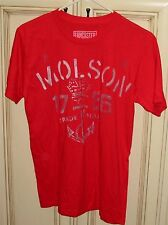 Men's Small MOLSON Beer T Shirt Red Short Sleeve Tee LANCASTER Old Stock Brand