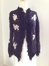 PALMER JONES Funky Boho Chic Fashion Forward Cow Black Patch Design Sweater S M