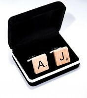 Fathers Day Gift Personalized Handmade Scrabble Cufflinks + Velvet Display Box