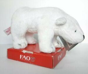 "Polar Bear Plush 7"" FAO Schwarz Toys R Us Stuffed Animal Tags White F.A.O"