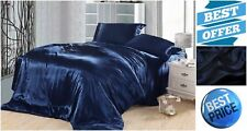 Super Soft Full Size Satin Sheet Set 4-pcs Flat Fitted Bed Cover 2 Pillowcases