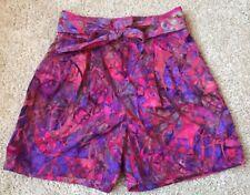 UNIS Womens Pink Batik Tribal Print Pleated Shorts Size 4 Pockets Retro Chic EUC