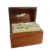 Vintage 1960s/70s Wood Recipe Box Full of Handwritten & Clipped Recipes Cooking