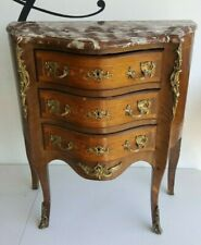 Petite COMMODE 3 tiroirs Style Louis XV Circa 1900 Marqueterie rocaille meuble